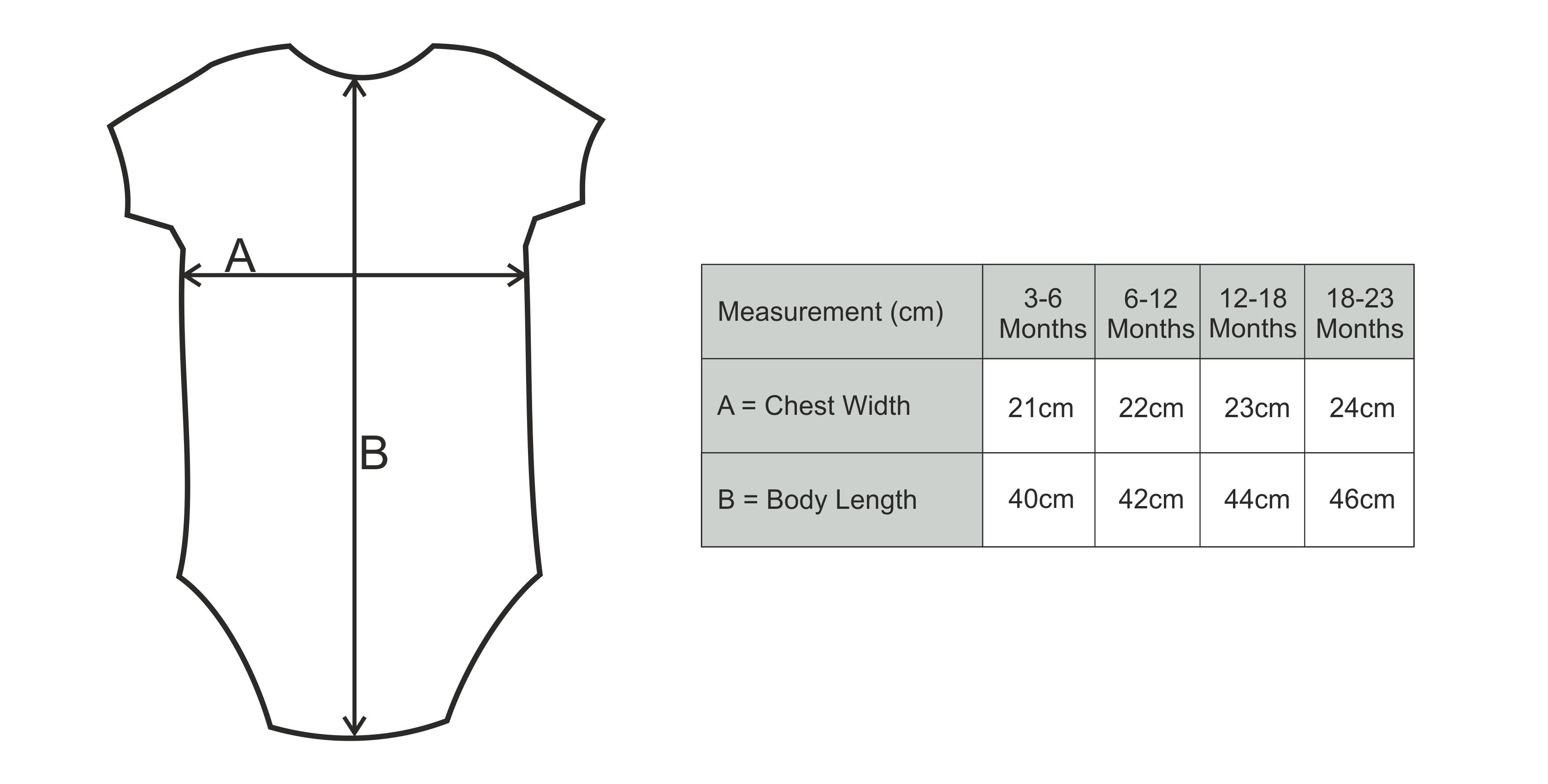 Thelwell Baby Body Suit Size Guide