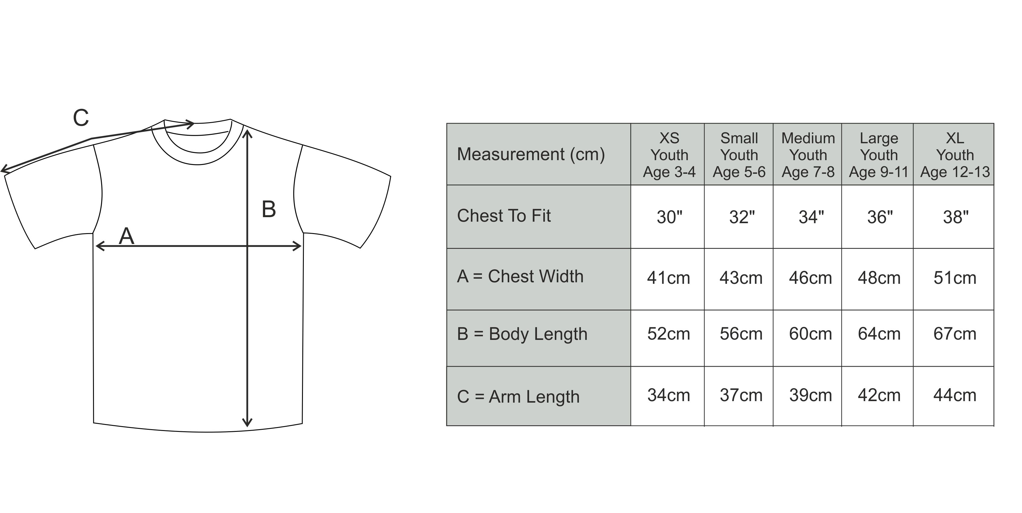 Size Guide - Junior T-Shirt
