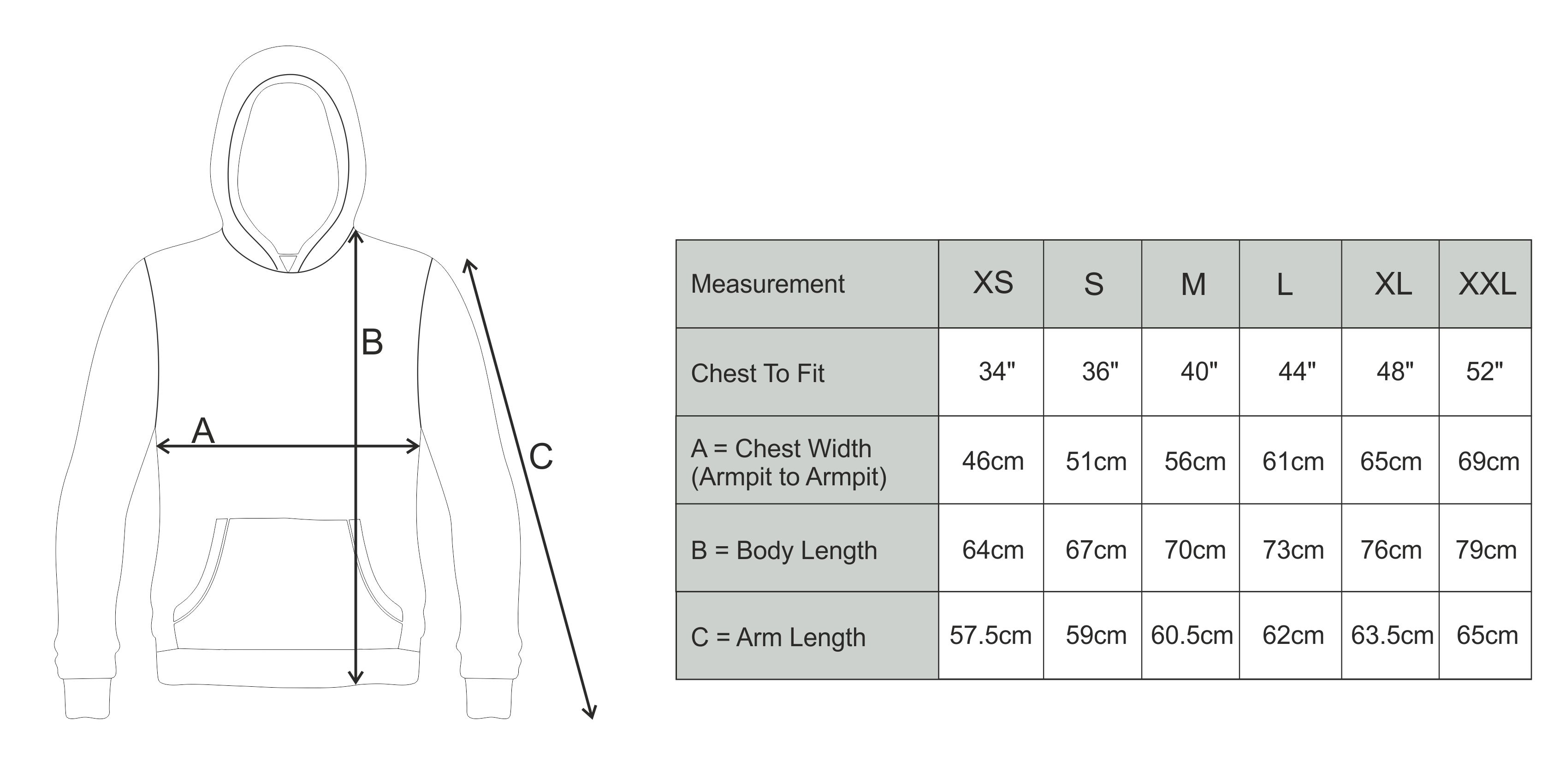 Size Guide Adult Hoodie