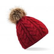 Thelwell Cable Knit Pom Pom Hat Red