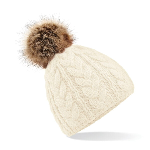 Thelwell Cable Knit Pom Pom Hat Off White